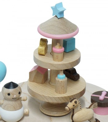 Wooden Music Box Baby and Toys view from above