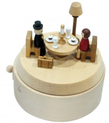 Wooden Music Box Romantic Dinner view from above