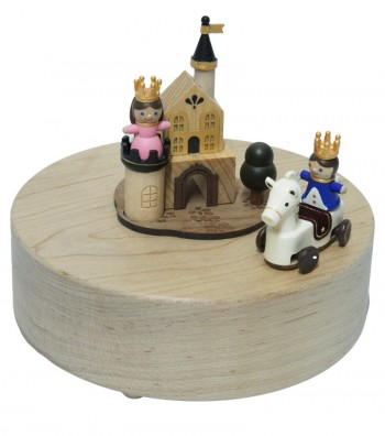Wooden Music Box Prince and Princess side view