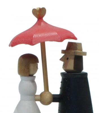 Carillon in legno innamorati con ombrello