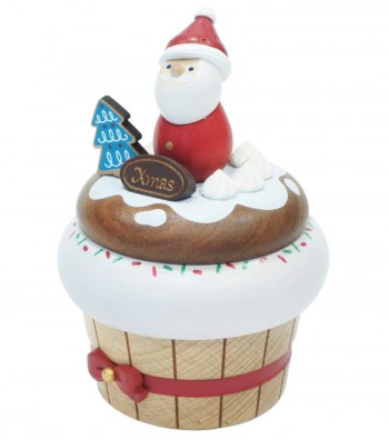 Wooden music box Santa Claus Cupcake