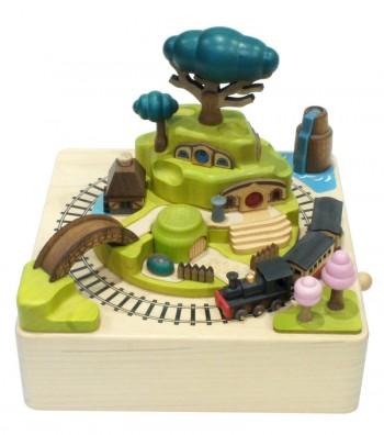 Wooden music box Spring Train