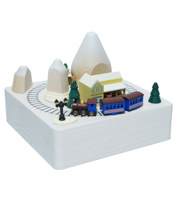 Wooden music box Christmas train