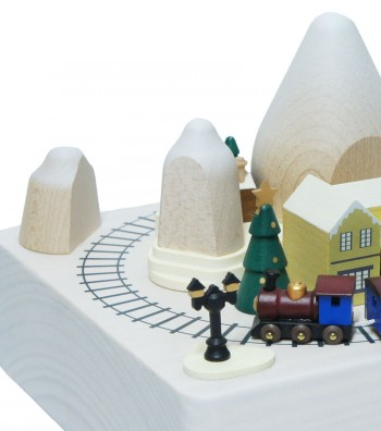 Wooden music box Train and houses