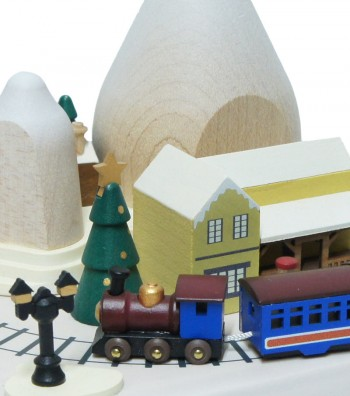 Wooden music box Christmas tree  and houses