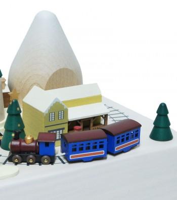 Carillon in legno treno color blu e neve