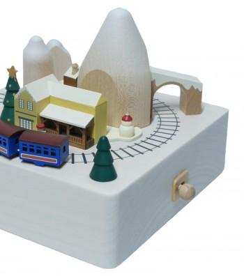 Wooden music box Christmas train e tunnel
