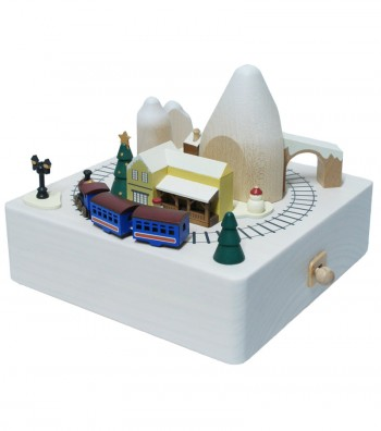 Wooden music box Christmas train view above