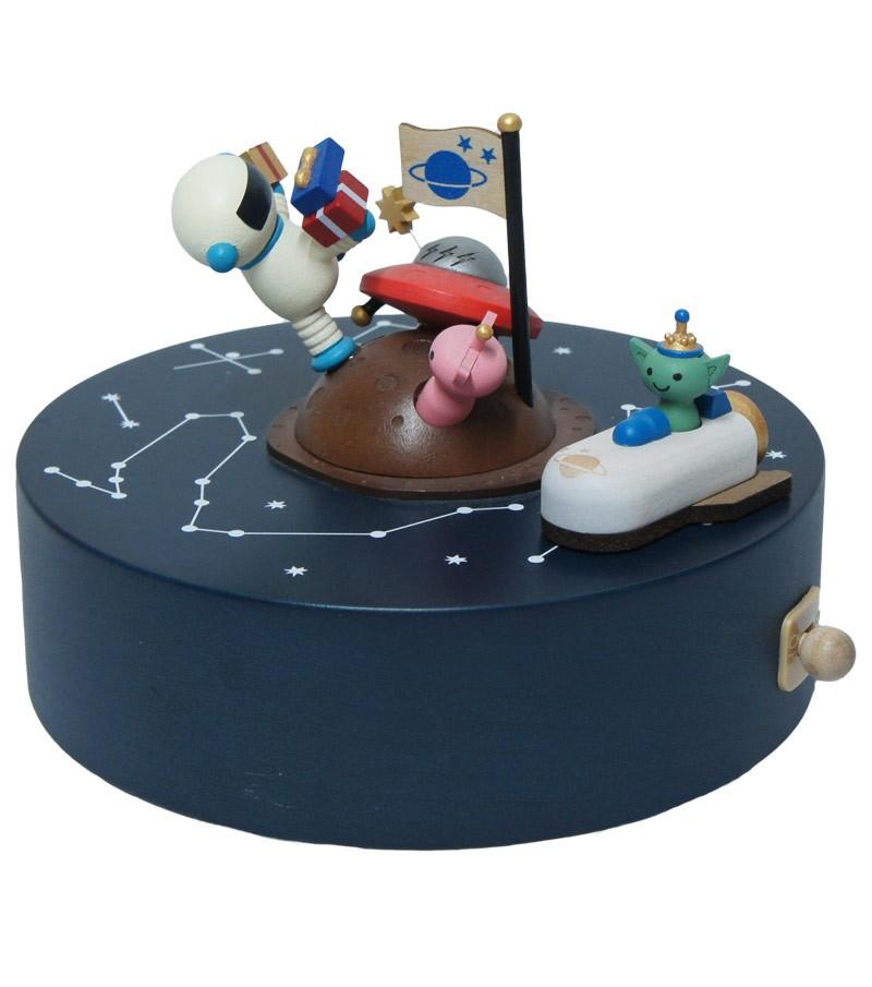 Carillon in legno compleanno nello spazio
