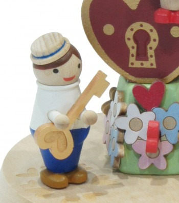 Wooden music box lover with padlock