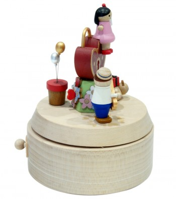 Wooden music box love padlock side view