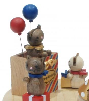 Carillon in legno tre gatti e palloncini