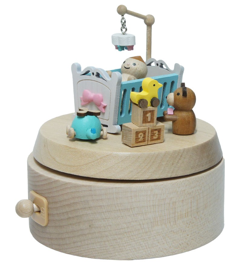 Wooden music box baby cot