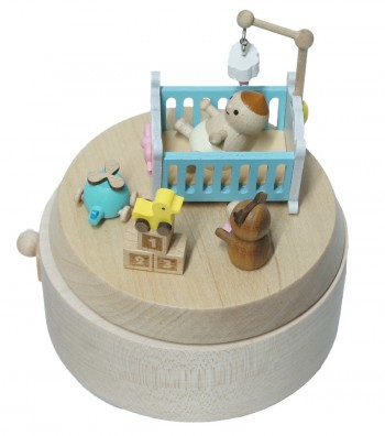 Wooden music box baby cot view from above