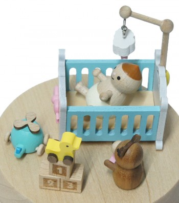 Wooden music box baby cot side view