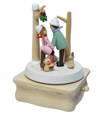 Carillon in legno bacio sotto il vischio