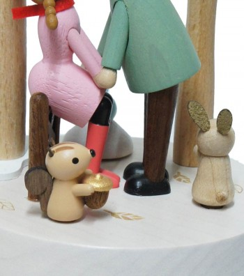 Wooden Music Box Kiss Under the Mistle and animals