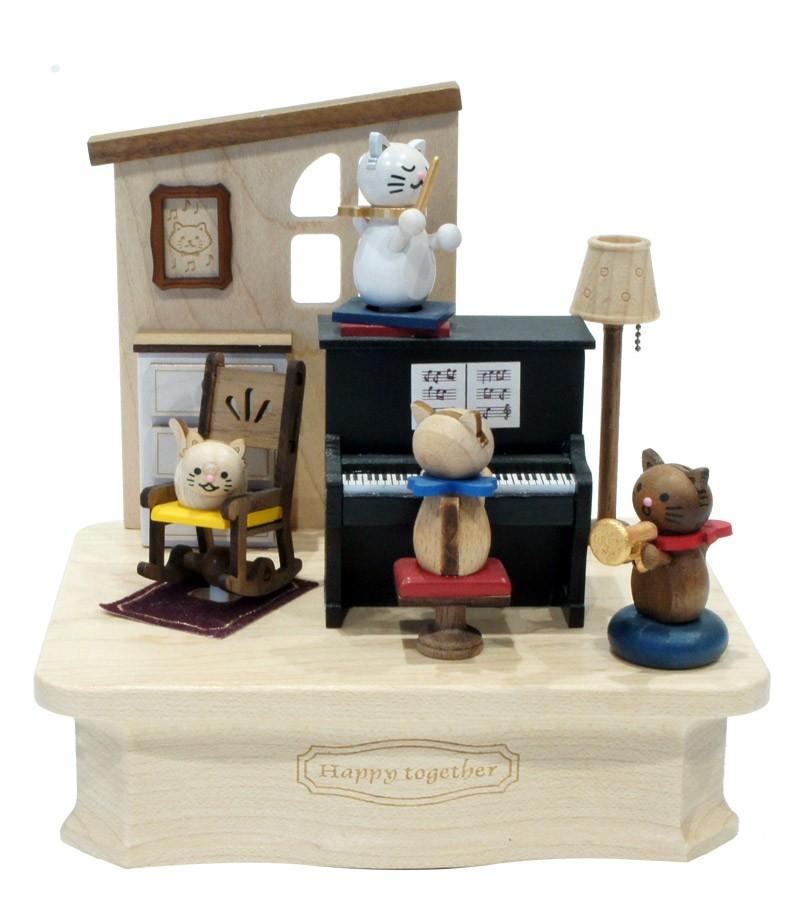 Carillon in legno Gatto col Piano