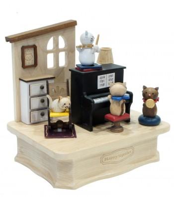 Carillon in legno Gatto col Piano visto da lontano