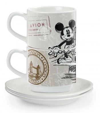 set 2 tazze da caffè con piattino impilabili Londra
