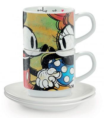 set 2 tazze da caffè con piattino Mickey & Minnie impilabili verde