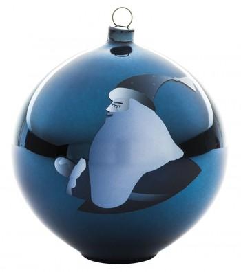 palla di Natale Blu decoro Babbo Natale design Antonio Aricò