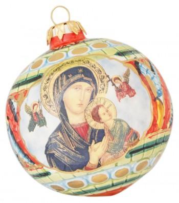 Palla di Natale in ceramica Madonna con Bambino
