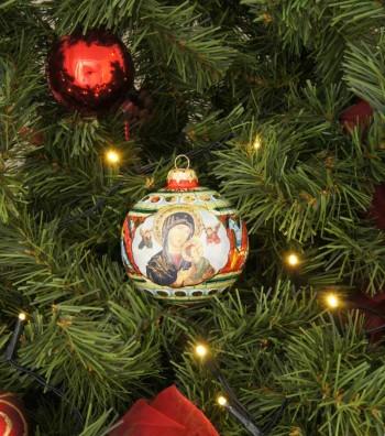 Palla di Natale in ceramica Madonna con Bambino appesa su albero