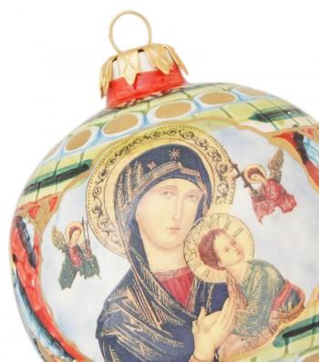Palla di Natale in ceramica dettaglio Madonna con Bambino