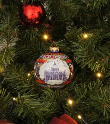 Saint Peter ceramic Christmas ball on a tree