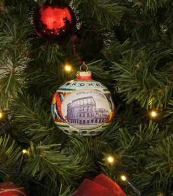 Colosseum ceramic Christmas ball on a tree