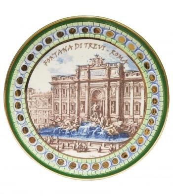 Trevi Fountain plate green border