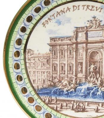 Detailed Trevi Fountain plate green border