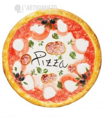 Pizza Plate in Ceramics Decoro Salami