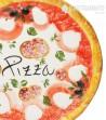 Pizza Plate in Ceramics Decoro Salami, close up view