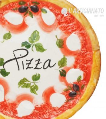Piatto Pizza in Ceramica Decoro Margherita, da vicino