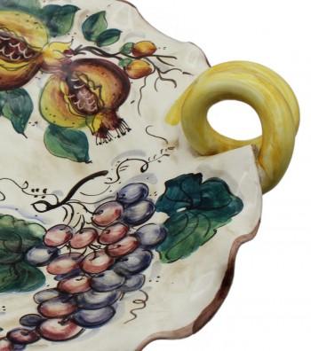Centrotavola in ceramica decoro melograno e uva
