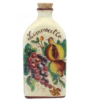 Bottiglia in ceramica dipinta a mano decoro melograno uva.