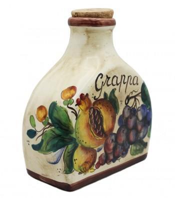 Bottiglia grappa in ceramica dipinta a mano.