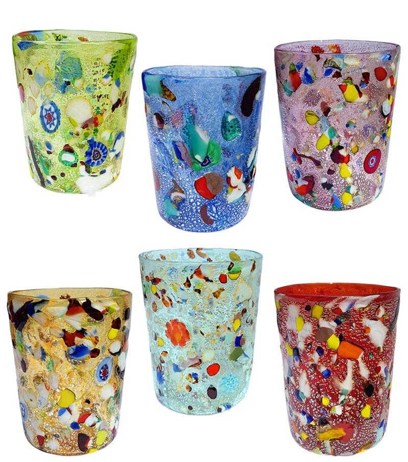 Bicchiere acqua in vetro di murano colori misti.