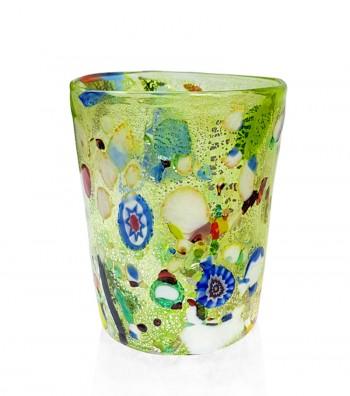 Bicchiere acqua in vetro di murano verde
