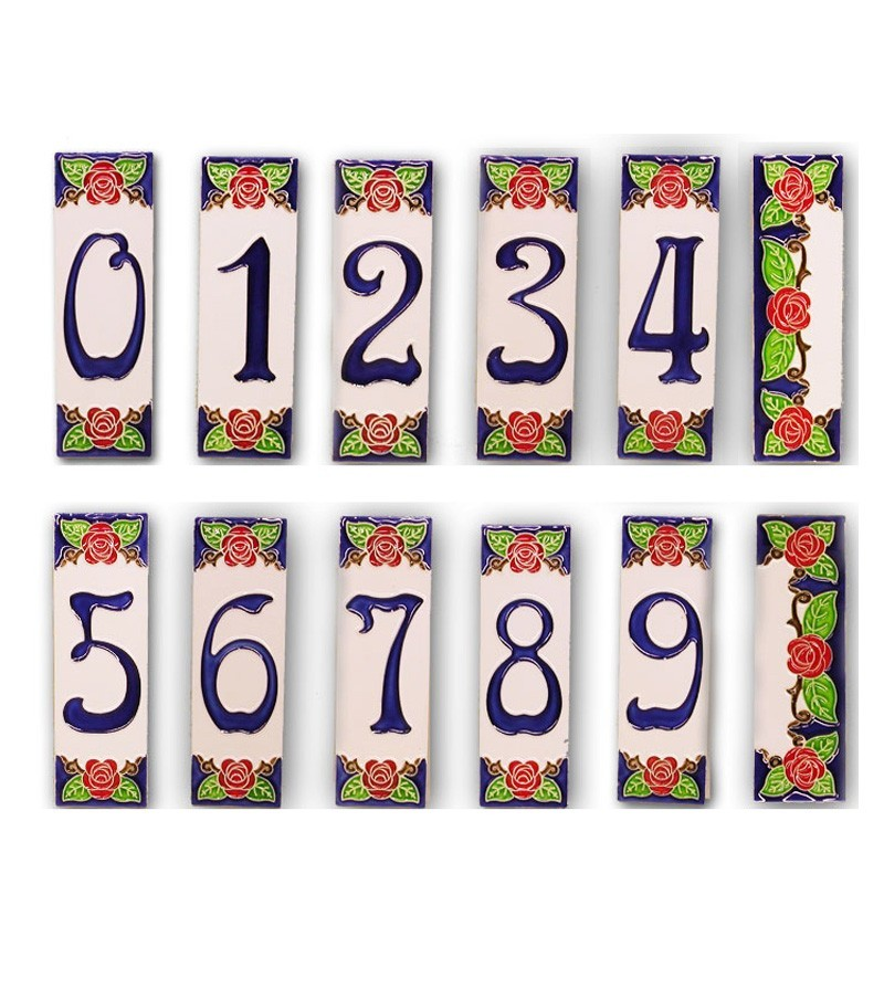 Ceramic tiles house numbers