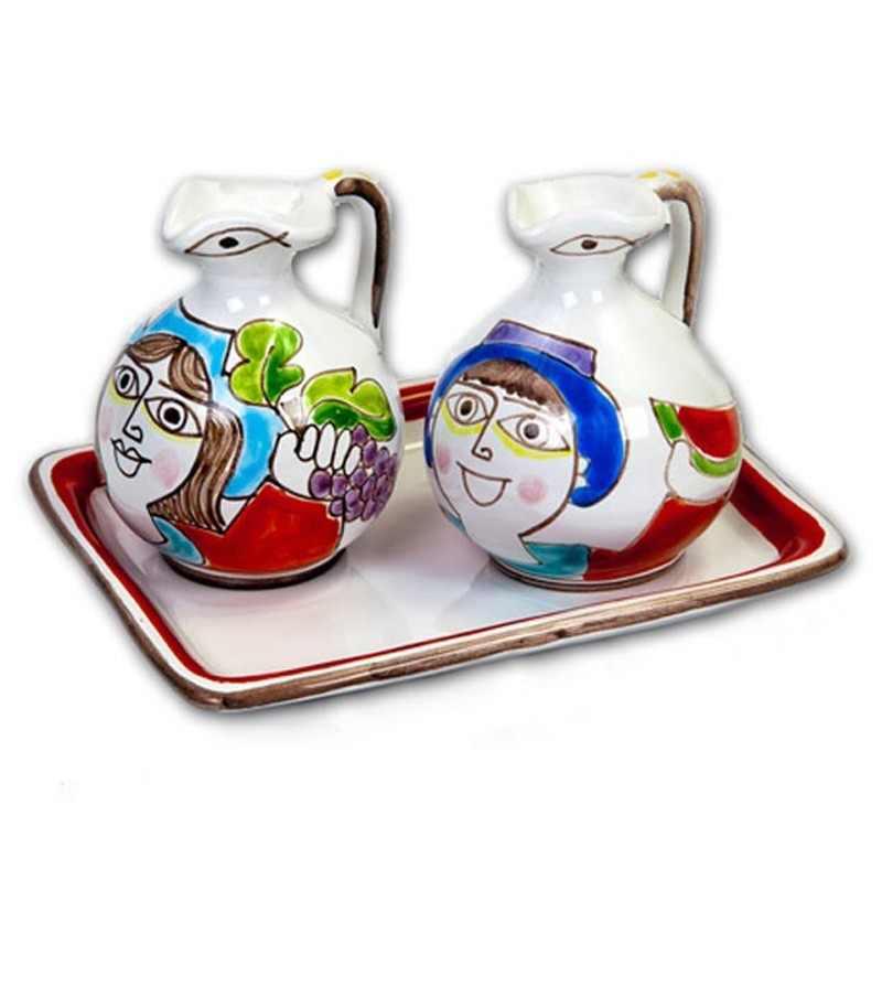 Hand-painted ceramic oil and vinegar set with Cubism decoration