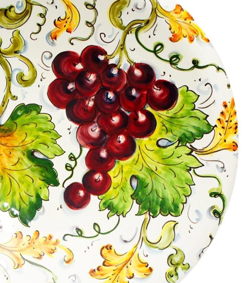 Ceramiche della Toscana dipinte a mano con decoro Uva