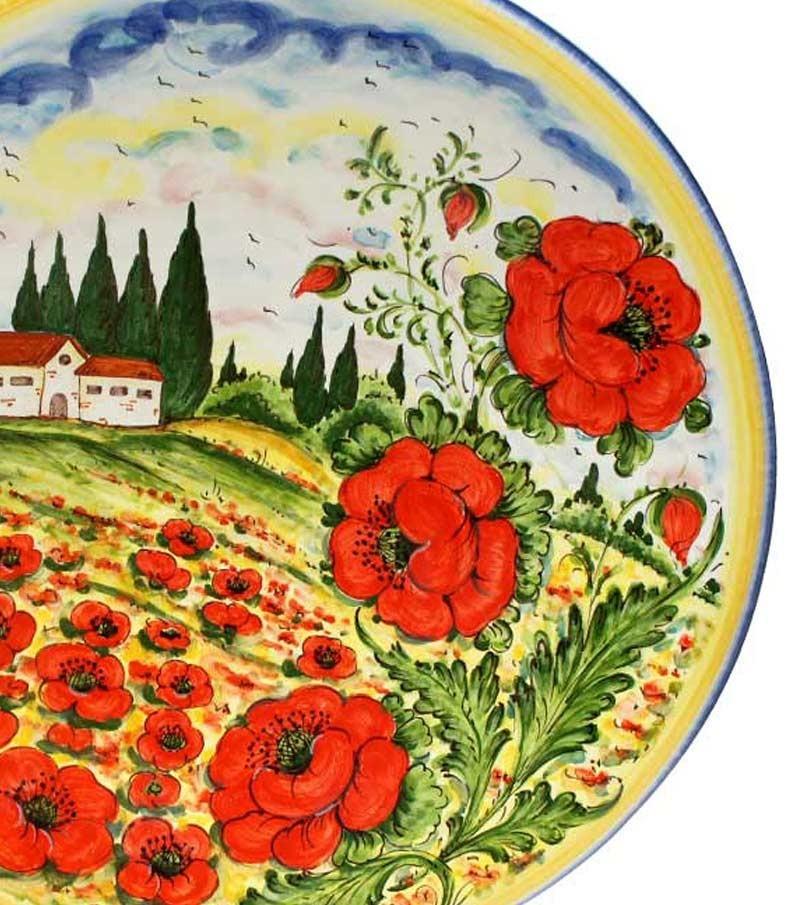 Hand-painted Tuscan ceramics poppy landscape decoration
