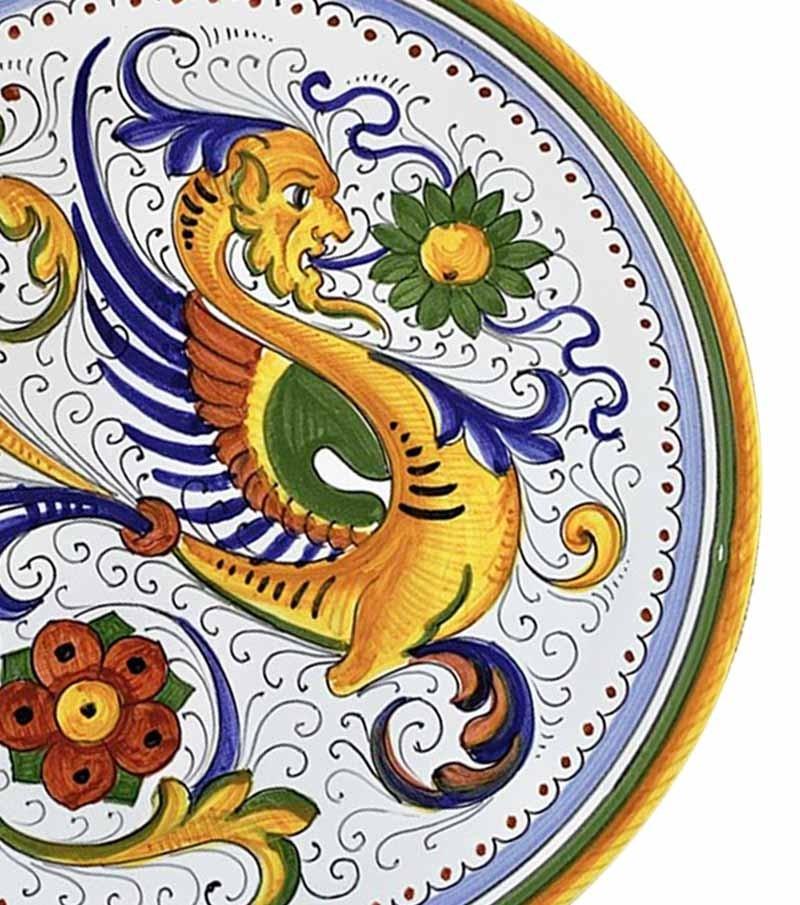 Hand-painted ceramics Umbria raffaellesco decorations