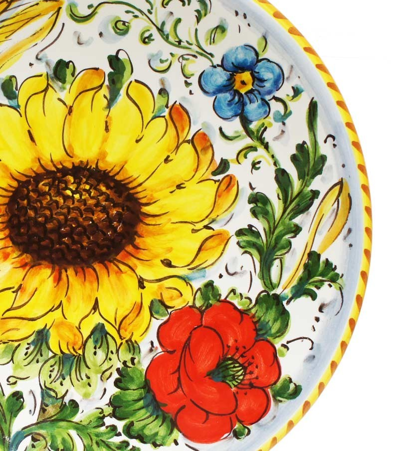 Hand-painted Tuscan ceramics sunflower decoration